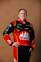 Feb 1, 2018; Chandler, AZ, USA; NHRA top fuel driver Doug Kalitta poses for a portrait during Nitro Spring Training pre season testing at Wild Horse Pass Motorsports Park. Mandatory Credit: Mark J. Rebilas-USA TODAY Sports