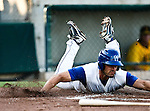 Fort Worth Cats Catcher Kelley Gulledge (21) slides into home during the American Association of Independant Professional Baseball game between the Amarillo Sox and the Fort Worth Cats at the historic LaGrave Baseball Field in Fort Worth, Tx. Fort Worth defeats Amarillo 5 to 3.