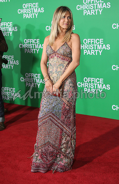 "07 December 2016 - Westwood, California - Jennifer Aniston.  ""Office Christmas Party"" Paramount Pictures Los Angeles Premiere held at Regency Village Theatre. Photo Credit: F. Sadou/AdMedia"