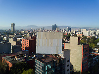Roof top from Roma Sur. aerial drone photography, Mexico City, Mexico