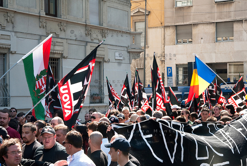 Milan, neo-fascist demonstration during the international meeting organized by Forza Nuova..Milano, manifestazione neofascista durante il meeting internazionale organizzato da Forza Nuova