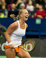 Moskou, Russia, Februari 7, 2016,  Fed Cup Russia-Netherlands, Kiki Bertens (NED) scrums it out , she just put the Netherland in a 3-0 win<br /> Photo: Tennisimages/Henk Koster