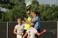 Piscataway, NJ - Saturday June 11, 2016: Nicole Barnhart, Kelly Conheeney, Becky Sauerbrunn during a regular season National Women's Soccer League (NWSL) match between Sky Blue FC and FC Kansas City at Yurcak Field.