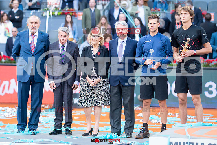 Manolo Santana Santana, Madrid Mayor Manuela Carmena, German Alexander Zverev during Finals of Mutua Madrid Open at Caja Magica in Madrid, Spain. May 13, 2018. (ALTERPHOTOS/Borja B.Hojas)