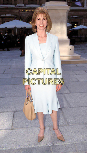 JANE ASHER.light blue suit, beige, camel, handbag, pointy shoes, heels.Ref: 11701 .www.capitalpictures.com.sales@capitalpictures.com.© Capital Pictures.