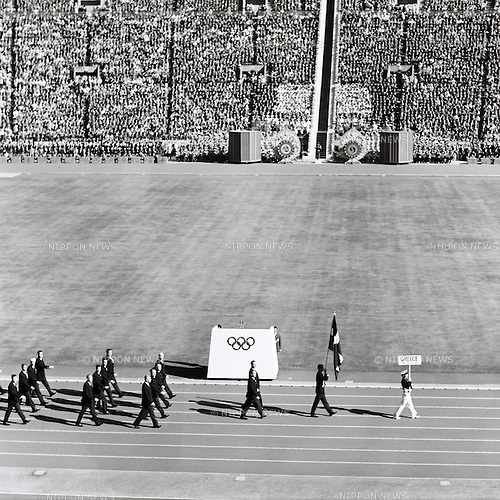 Greek delegation,<br /> OCTOBER 10, 1964 - Opening Ceremony : Greek delegation parades during the Opening Ceremony of 1964 Tokyo Olympic Games at National Stadium in Tokyo, Japan.<br /> (Photo by Shinichi Yamada/AFLO) [0348]