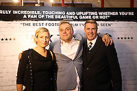 """Pictured: Film director Marc Evans (C) with executive producer Gwenllian Hughes (L). Sunday 14 September 2014<br /> Re: Film premiere of """"Jack To A King"""" depicting the recent history pf Swansea City Football Club, at the Odeon Cinema, Swansea, south Wales, UK."""