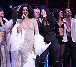 Micaela Diamond, Stephanie J. Block and Cher with cast during the Broadway Opening Night Curtain Call of 'The Cher Show'  at Neil Simon Theatre on December 3, 2018 in New York City.