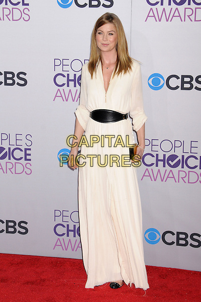 Ellen Pompeo.People's Choice Awards 2013 - Arrivals held at Nokia Theatre L.A. Live, Los Angeles, California, USA..January 9th, 2013.full  length black dress white belt gold clutch bag.CAP/ADM/BP.©Byron Purvis/AdMedia/Capital Pictures.