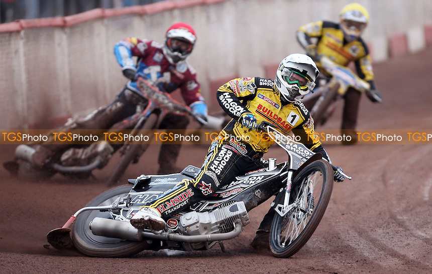 Heat 1: Edward Kennett (white), Davey Watt (red) and Aaron Summers (yellow) - Lakeside Hammers vs Coventry Bees, KO Cup 1st Round 2nd leg at the Arena Essex Raceway, Pufleet - 02/06/12 - MANDATORY CREDIT: Rob Newell/TGSPHOTO - Self billing applies where appropriate - 0845 094 6026 - contact@tgsphoto.co.uk - NO UNPAID USE..