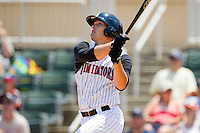 Trayce Thompson #24 of the Kannapolis Intimidators follows through on his swing against the Hagerstown Suns at Fieldcrest Cannon Stadium on May 30, 2011 in Kannapolis, North Carolina.   Photo by Brian Westerholt / Four Seam Images
