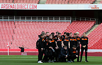 Blackpool U18's squad line up on the pitch for a team photo<br /> <br /> Photographer Andrew Kearns/CameraSport<br /> <br /> Emirates FA Youth Cup Semi- Final Second Leg - Arsenal U18 v Blackpool U18 - Monday 16th April 2018 - Emirates Stadium - London<br />  <br /> World Copyright &copy; 2018 CameraSport. All rights reserved. 43 Linden Ave. Countesthorpe. Leicester. England. LE8 5PG - Tel: +44 (0) 116 277 4147 - admin@camerasport.com - www.camerasport.com