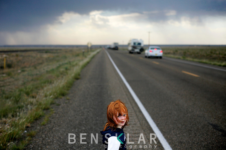 Quinn during a traffic jam in New Mexico during his family's first week on the road away from Austin.