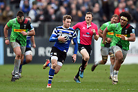 Will Chudley of Bath Rugby goes on the attack. Gallagher Premiership match, between Bath Rugby and Harlequins on March 2, 2019 at the Recreation Ground in Bath, England. Photo by: Patrick Khachfe / Onside Images