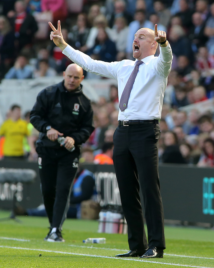 Burnley manager Sean Dyche shouts instructions to his team from the dug-out<br /> <br /> Photographer David Shipman/CameraSport<br /> <br /> The Premier League - Middlesbrough v Burnley - Saturday 8th April 2017 - Riverside Stadium - Middlesbrough<br /> <br /> World Copyright &copy; 2017 CameraSport. All rights reserved. 43 Linden Ave. Countesthorpe. Leicester. England. LE8 5PG - Tel: +44 (0) 116 277 4147 - admin@camerasport.com - www.camerasport.com