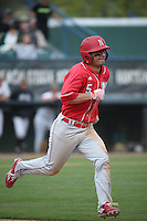 Steven Reveles (5) of the Nebraska Cornhuskers runs to first base during a game against the Long Beach State Dirtbags in the first game of a doubleheader at Blair Field on March 5, 2016 in Long Beach, California. Long Beach State defeated Nebraska, 1-0. (Larry Goren/Four Seam Images)