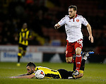 Billy Sharp of Sheffield Utd tackles Robbie Weir of Burton Albion - English League One - Sheffield Utd vs Burton Albion - Bramall Lane Stadium - Sheffield - England - 1st March 2016 - Pic Simon Bellis/Sportimage