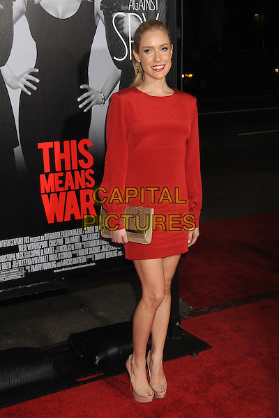 "Kristin Cavallari.""This Means War"" Los Angeles Premiere held at Grauman's Chinese Theatre, Hollywood, California, USA..February 8th, 2012.full length red dress long sleeves beige clutch bag shoes peep toe platform .CAP/ADM/BP.©Byron Purvis/AdMedia/Capital Pictures."