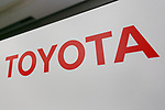 A Toyota Motor Corporation (TMC) signboard on display at its headquarters building where Senior Managing officers Tetsuya Otake and Nobuhiko Murakami attend a news conference to announce their first quarter financial results on August 4, 2017, Tokyo, Japan. They announced an increase in the number of vehicles sold versus the same period last year, and also an increase in net income up to 613 .0 billion yen for the quarter compared with 552.4 billion yen the previous year. (Photo by Rodrigo Reyes Marin/AFLO)