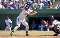 Kansas City Royals George Brett (5) at bat in front of catcher Mickey Tettleton (20) of the Detroit Tigers during spring training circa 1991at Baseball City Stadium in Davenport, Florida.  (MJA/Four Seam Images)