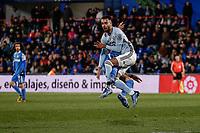 7th March 2020; Coliseum Alfonso Perez, Madrid, Spain; La Liga Football, Club Getafe Club de Futbol versus Celta Vigo; Jaime Mata (Getafe CF) collides with Brais Mendez (Celta de Vigo)