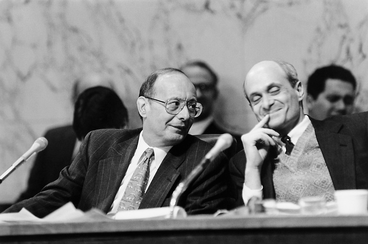 """Sen. Alfonse Marcello """"Al"""" D'Amato, D-N.Y., Senate Committee on Banking, Housing, and Urban Affairs Chairman, at a Senate Banking Committee hearing on Whitewater Legal Counsel. January 11, 1996 (Photo by Maureen Keating/CQ Roll Call)"""