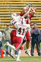 Brian Bentrott breaks up a pass during the Spring Game on April 26, 2003 at Stanford Stadium.<br />