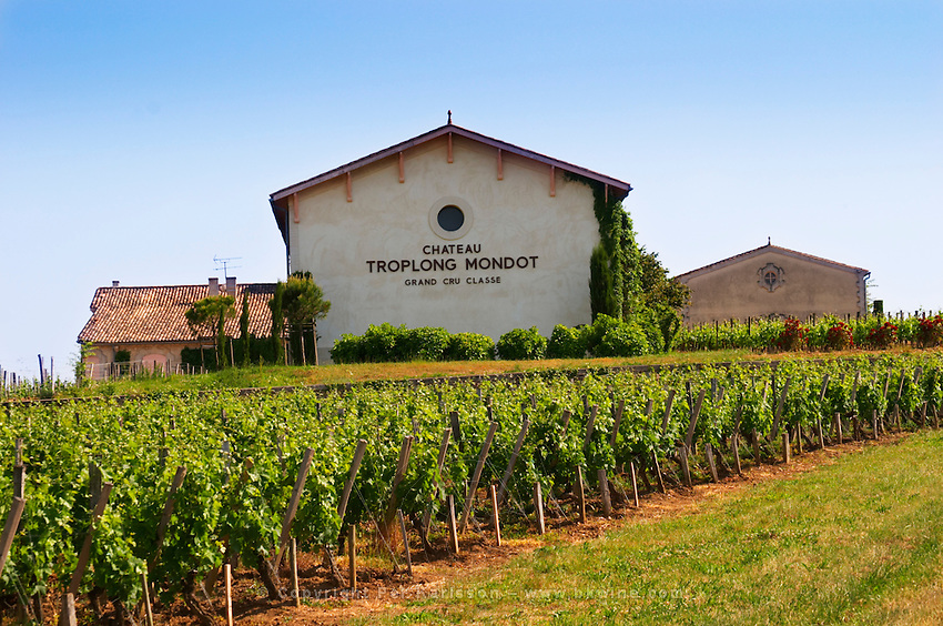 The winery of Chateau Troplong Mondot Grand Cru Classe and its vineyards Saint Emilion Bordeaux Gironde Aquitaine France