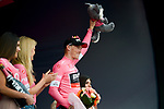 Rohan Dennis (AUS) BMC Racing Team takes over the leaders Maglia Rosa at the end of Stage 2 of the 101st edition of the Giro d'Italia 2018 running 167km from Haifa to Tel Aviv, Israel. 5th May 2018.<br /> Picture: LaPresse/Marco Alpozzi | Cyclefile<br /> <br /> <br /> All photos usage must carry mandatory copyright credit (&copy; Cyclefile | LaPresse/Marco Alpozzi)