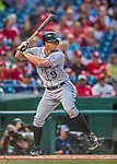 29 July 2017: Colorado Rockies infielder DJ LeMahieu in action against the Washington Nationals at Nationals Park in Washington, DC. The Rockies defeated the Nationals 4-2 in the first game of their 3-game weekend series. Mandatory Credit: Ed Wolfstein Photo *** RAW (NEF) Image File Available ***