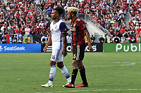 Atlanta, Georgia - Saturday, July 29, 2017: Atlanta United scored a stoppage time equalizer to earn a draw with the visiting Orlando Lions, 1-1, in front of the club's ninth consecutive home sellout, and the team's final match, at Bobby Dodd Stadium.
