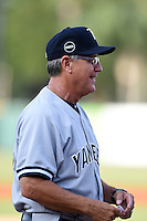 Tampa Yankees manager Dave Bialas (36) during the lineup exchange before a game against the Lakeland Flying Tigers on April 9, 2015 at Joker Marchant Stadium in Lakeland, Florida.  Tampa defeated Lakeland 2-0.  (Mike Janes/Four Seam Images)