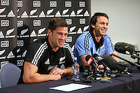 All Black Cory Jane and Ben Smith speak with media at the interview session prior to the Rugby Championship, Bledisloe Cup test match between New Zealand and Australia, Southern Cross Hotel, Dunedin, New Zealand, Thursday, October 17, 2013. Photo: Dianne Manson / photosport.co.nz