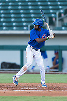 AZL Cubs 1 center fielder Edmond Americaan (22) at bat during an Arizona League playoff game against the AZL Rangers at Sloan Park on August 29, 2018 in Mesa, Arizona. The AZL Cubs 1 defeated the AZL Rangers 8-7. (Zachary Lucy/Four Seam Images)