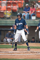 Helena Brewers infielder Brice Turang (18) at bat during a Pioneer League game against the Grand Junction Rockies at Kindrick Legion Field on August 19, 2018 in Helena, Montana. The Grand Junction Rockies defeated the Helena Brewers by a score of 6-1. (Zachary Lucy/Four Seam Images)