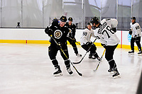 September 15, 2017: Boston Bruins left defenseman John-Michael Liles (26) drills with forward Colton Hargrove (78) during the Boston Bruins training camp held at Warrior Ice Arena in Brighton, Massachusetts. Eric Canha/CSM