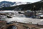 After a hundred years the Blackfoot and Clark Fork Rivers are now able to flow freely without being blocked by the Milltown Dam on Friday, March 28, 2008, in Milltown, Mont. The two rivers now flow where the Milltown Dam powerhouse once stood. (AP Photo/James Snook)