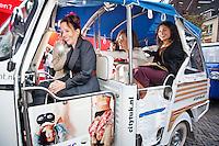 Utrecht, 26 september 2013<br /> Nederlands Film Festival 2013<br /> Premiere Zusjes, op weg in Tuk-Tuk<br /> Vlnr: Dana Nechustan, Terrence Schreurs, Charlie Chan Dagelet<br /> Foto Felix Kalkman
