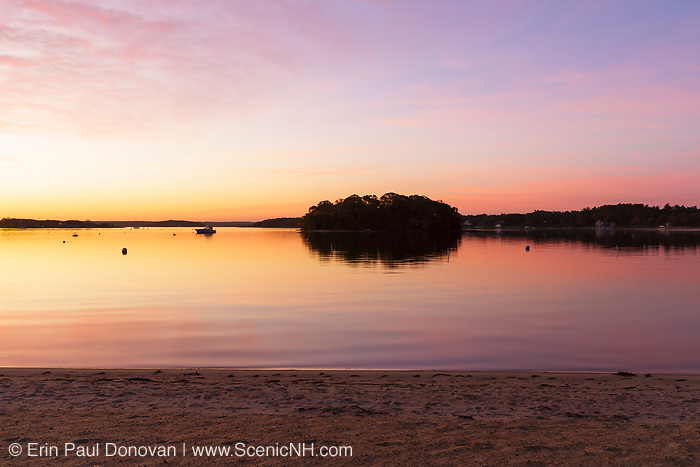 Onset Bay before sunrise in Onset Village in Wareham, Massachusetts during the autumn months.