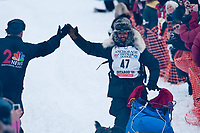 Lance Mackey team leaves the start line during the restart day of Iditarod 2009 in Willow, Alaska
