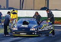 Feb 7, 2014; Pomona, CA, USA; NHRA pro stock driver Shane Tucker during qualifying for the Winternationals at Auto Club Raceway at Pomona. Mandatory Credit: Mark J. Rebilas-