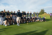 23.09.2014. Gleneagles, Auchterarder, Perthshire, Scotland.  The Ryder Cup.  The caddies lose their balance and collapse to the ground during the Team Europe photo call.