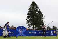 Suzann Pettersen of Team Europe on the 2nd tee during Day 2 Fourball at the Solheim Cup 2019, Gleneagles Golf CLub, Auchterarder, Perthshire, Scotland. 14/09/2019.<br /> Picture Thos Caffrey / Golffile.ie<br /> <br /> All photo usage must carry mandatory copyright credit (© Golffile | Thos Caffrey)