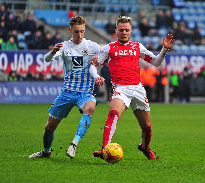 Fleetwood Town's David Ball vies for possession with Coventry City's Ben Stevenson<br /> <br /> Photographer Andrew Vaughan/CameraSport<br /> <br /> The EFL Sky Bet League One - Coventry City v Fleetwood Town - Saturday 21st January 2017 - Ricoh Arena - Coventry<br /> <br /> World Copyright &copy; 2017 CameraSport. All rights reserved. 43 Linden Ave. Countesthorpe. Leicester. England. LE8 5PG - Tel: +44 (0) 116 277 4147 - admin@camerasport.com - www.camerasport.com