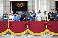 Prince Charles, Prince Andrew, Camilla Duchess of Cornwall, HM The Queen Elizabeth II, Meghan Duchess of Sussex, Prince William, Prince Harry, Catherine Duchess of Cambridge, Princess Anne<br /> The Royal Family watch RAF centenary fly-past at Buckingham Palace, The Mall, London, England on July 10, 2018.<br /> CAP/GOL<br /> &copy;GOL/Capital Pictures