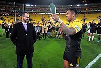 Julian Savea celebrates his 100th Super Rugby game after the Super Rugby match between the Hurricanes and Chiefs at Westpac Stadium in Wellington, New Zealand on Friday, 9 June 2017. Photo: Dave Lintott / lintottphoto.co.nz