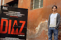 """Roma, 6 Aprile 2012.Photocall del film """"Diaz"""" .L'attore Davide Iacopini."""