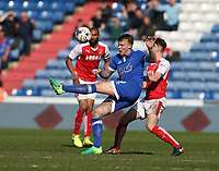 Oldham Athletic's Lee Erwin and Fleetwood Town's Ben Davies<br /> <br /> Photographer Stephen White/CameraSport<br /> <br /> The EFL Sky Bet League One - Oldham Athletic v Fleetwood Town - Saturday 8th April 2017 - SportsDirect.com Park - Oldham<br /> <br /> World Copyright &copy; 2017 CameraSport. All rights reserved. 43 Linden Ave. Countesthorpe. Leicester. England. LE8 5PG - Tel: +44 (0) 116 277 4147 - admin@camerasport.com - www.camerasport.com