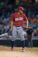 Lehigh Valley Iron Pigs relief pitcher Edubray Ramos (47) looks to his catcher for the sign against the Charlotte Knights at BB&T BallPark on June 3, 2016 in Charlotte, North Carolina.  The Iron Pigs defeated the Knights 6-4.  (Brian Westerholt/Four Seam Images)