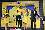 Race leader Geraint Thomas (WAL) Team Sky retains the Yellow Jersey at the end of Stage 2 of the 104th edition of the Tour de France 2017, running 203.5km from Dusseldorf, Germany to Liege, Belgium. 2nd July 2017.<br /> Picture: Eoin Clarke | Cyclefile<br /> <br /> <br /> All photos usage must carry mandatory copyright credit (&copy; Cyclefile | Eoin Clarke)